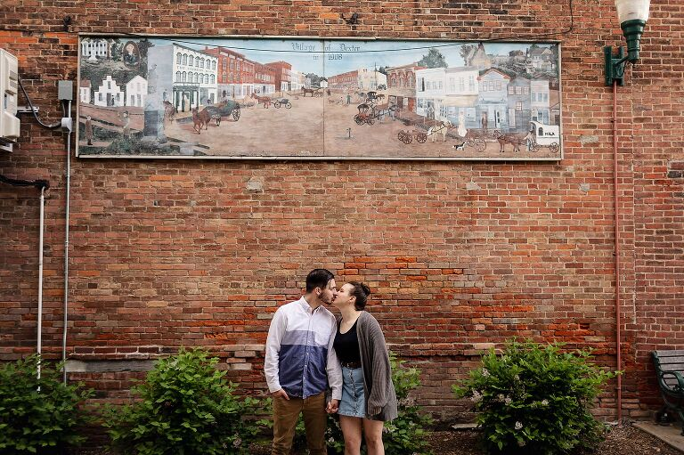 Spring Engagement in Dexter Michigan, 2020 Wedding in Ann Arbor, Engagement session in historic town