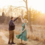 Dancing at sunset engagement